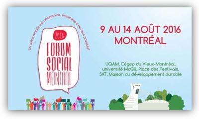 Forum social mondial du 9 au 14 août 2016